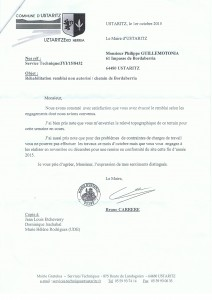 lettre maire Bordaberria
