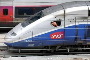 A TGV train arrives at a SNCF depot station in Charenton-le-Pont near Paris